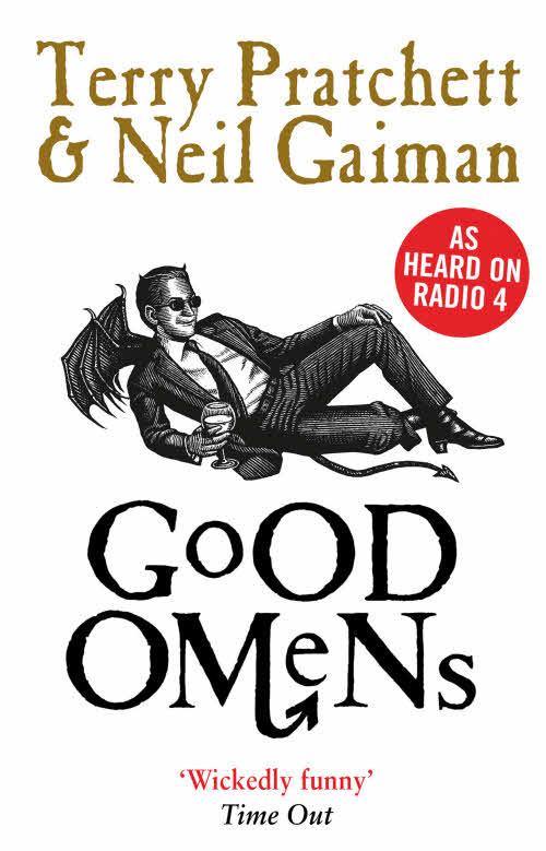 Good Omens Paperback Book Cover by Terry Pratchett